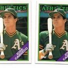 Jose Canseco Trading Card Lot of (2) 1988 Topps #370 Athletics