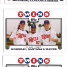 Justin Morneau Johan Santana Joe Mauer Lot of (3) 2008 Topps #287 Twins