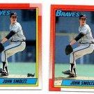 John Smoltz Trading Card Lot of (2) 1990 Topps #535 Braves