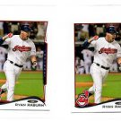 Ryan Raburn Trading Card Lot of (2) 2014 Topps #440 Indians
