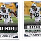 Santonio Holmes Franchise Trading Card Lot of (2) 2013 Score #288 Jets