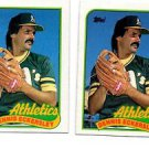 Dennis Eckersley Trading Card Lot of (2) 1989 Topps #370 Athletics