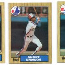 Andre Dawson Trading Card Lot of (3) 1987 Topps #345 Expos