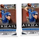 Matthew Stafford Airmail Trading Card Lot of (2) 2013 Score #231 Lions