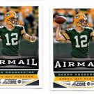 Aaron Rodgers Airmail Trading Card Lot of (2) 2013 Score #232 Packers