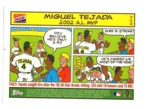 Miguel Tejada Comic Cartoon Trading Card 2005 Topps Bazooka #21 Athletics