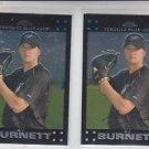 A.J. Burnett Trading Card Lot of (2) 2007 Topps Chrome #123 Blue Jays