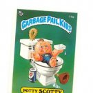 Potty Scotty License Back Sticker 1985 Topps Garbage Pail Kids UK Mini #14a