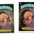 Nervous Nellie Drawing Nora Sticker Lot 1986 Topps Garbage Pail Kids #215a #215b