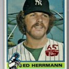 Ed Herrmann Red Stamped Buyback 2016 Topps #406 1976 Yankees