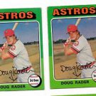 Doug Rader Trading Card Lot of (2) 1975 Topps #165 Astros VGEX