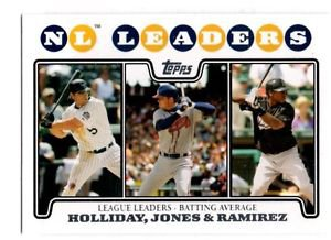 Matt Holliday Chipper Jones Hanley Ramirez 2008 Topps #326 LL