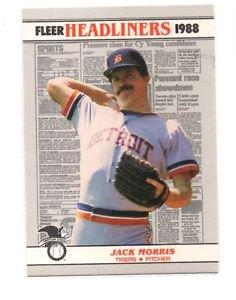 Jack Morris Trading card Single 1988 Fleer Headliners #3 Tigers