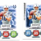 Peyton Manning Trading Card Lot of (2) 2010 Topps Attax #NNO Colts