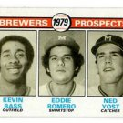 Kevin Bass Eddie Romero Ned Yost RC 1979 Topps 708 Brewers