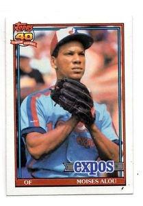 Moises Alou Trading Card Single 1991 Topps #526 Expos NMMT