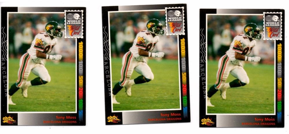 Tony Moss Trading Card Lot of (3) 1991 Wild Card WLAF #135
