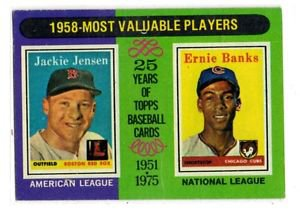 Ernie Banks Jackie Jensen MVP Trading Card 1975 Topps #195 Cubs Red Sox EX+