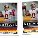 Robert Griffin III Airmail Trading Card Lot of (2) 2013 Score #252 Redskins
