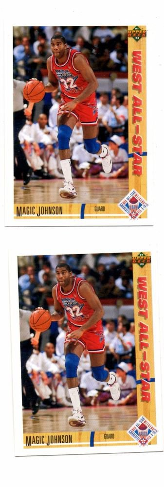 Magic Johnson Trading Card Lot of (2) 1990-91 Upper Deck #57 AS