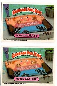 Welcome Matt Muddy Maude Sticker Lot 1986 Topps Garbage Pail Kids 244a 244b