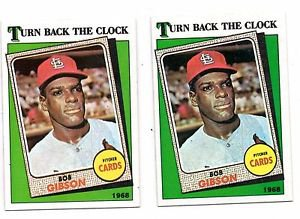 Bob Gibson Turn Back The Clock Lot of  (2) 1988 Topps #664 Cardinals