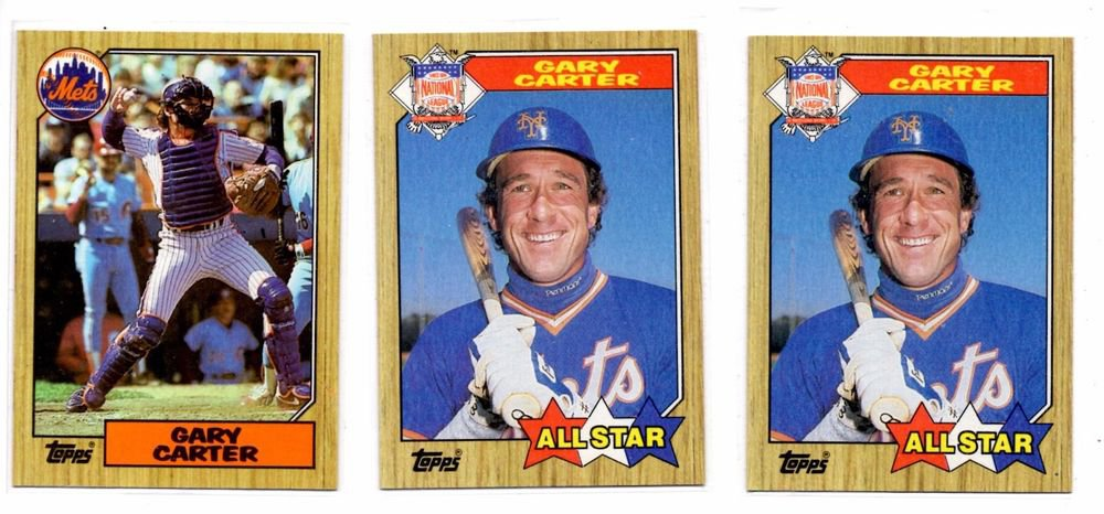 Gary Carter Trading Lot of (3) 1987 Topps #602 x2 & #20 x1 Mets