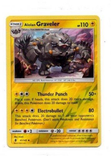 Alolan Graveler Reverse Holo UnCommon Single Pokemon Sun Moon 45/145 x1