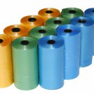 3000 DOG PET WASTE POOP BAGS 150 REFILL YELLOW GREEN BLUE ROLLS WITH CORE