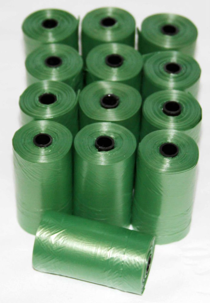 1800 DOG PET WASTE POOP BAGS 90 GREEN REFILL ROLLS WITH CORE