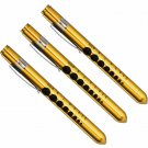 (3) Professional Medical Diagnostic Penlights With Pupil Gauge Gold