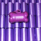 3000 DOG PET WASTE POOP BAGS PURPLE REFILL ROLL WITH PLASTIC CORE DISPENSER FREE