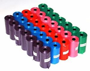 2000 Color DOG PET WASTE POOP BAGS ROLLS Core 2 FREE DISPENSERS Petoutside USA