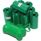 1020 DOG PET WASTE POOP BAGS GREEN ROLLS with Core FREE DISPENSER Petoutside USA