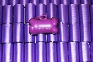 6000 DOG PET WASTE POOP BAGS 400 Purple REFILL 15 bags/ROLLS  + DISPENSER FREE