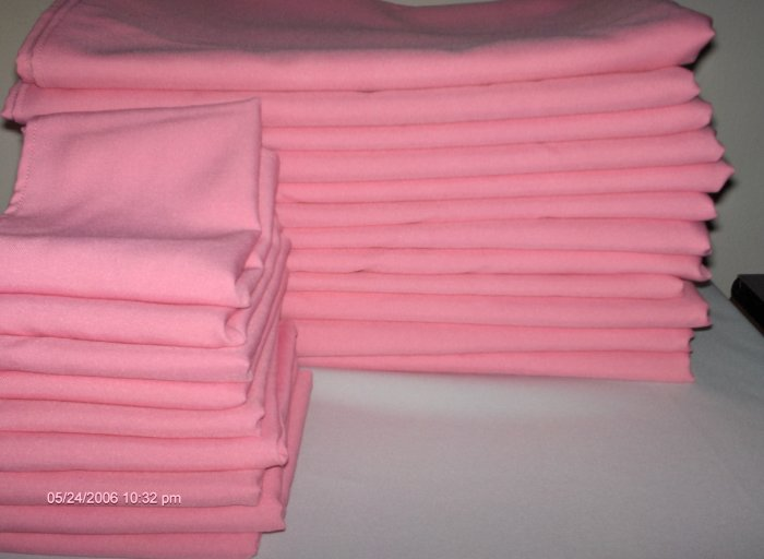 1 dozen pink tablecloth 1 dozen  64 x 52 + 9 free matching napkins,  ! lower price !.