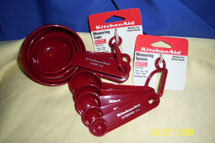 kitchenaid measuring spoons and cups set new red