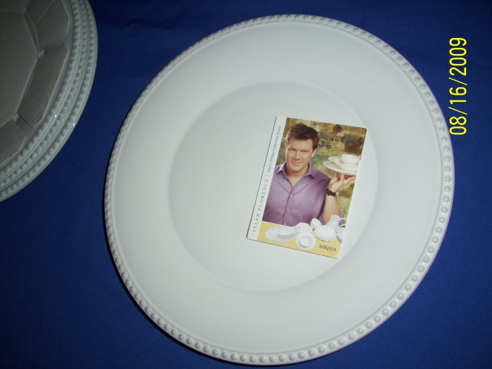 tyler florence for mikasa dinner plates  bead pattern  4pc set  new boxed