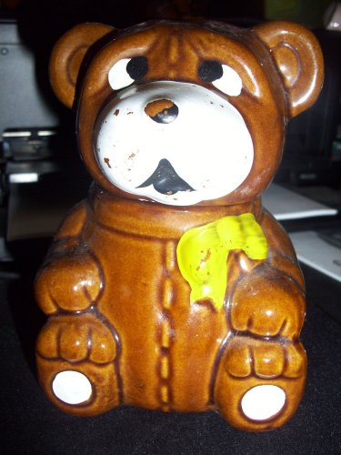 Brown Glazed Ceramic  Honey Bear Pot server   5 1/4 tall X 3 3/4