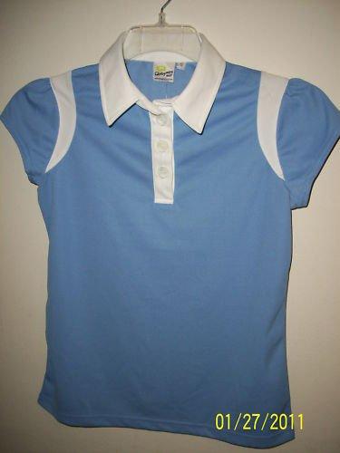 quagmire golf women blue n white polo shirt nwt UV prot
