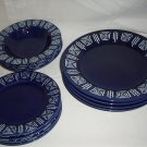 Gibson China Bradberry Aztec Design Cobalt Blue Dinner Salad Soup Bowls 12 pcs