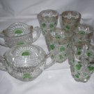 VINTAGE GREEN BULLSEYE PATTERN PRESSED GLASS TUMBLERS  7 pcs + free pitcher