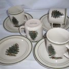 stoneware christmas tree cups / mugs and saucers green band 8 pcs