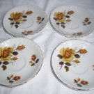 Brexton England Vintage fine china yellow rose saucer plates set 8107 gold trim