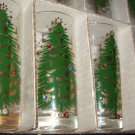 8 Vintage Maida Armour Christmas tree glass tumblers with rhinestones  * RARE *