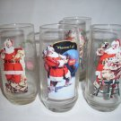 4 VINTAGE CHRISTMAS COCA-COLA HADDON SUNDBLOM SANTA GLASS TUMBLERS