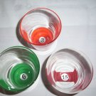 Glass Tumblers Double Rocks Billiard Pool Ball Theme Drinking Glass
