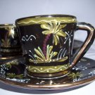 ROLLI DERUTA  ART POTTERY CUPS & SAUCERS Raised & Gold Trim 10-pc set RARE RARE