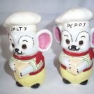 Rare Vintage Salty & Peppy Salt and Pepper Shakers French Greek Chef orig plugs