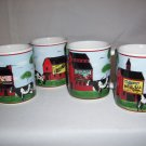 4 Coffee Cups Farmer Red Barn Dairy Milk Cows Mugs